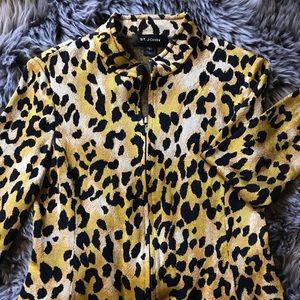 St. John Animal Cheetah Print  Zippered Cardigan